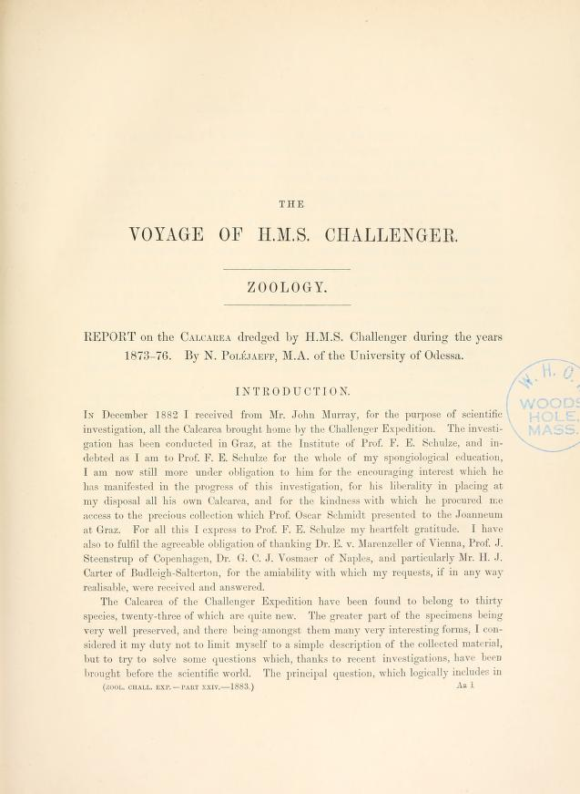 Report on the Calcarea dredged by the HMS Challenger