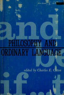 Cover of: Philosophy and ordinary language. -- by